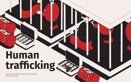 Human trafficking isometric background with composition of people in cages bags with cash and editable text vector illustration Ilustração