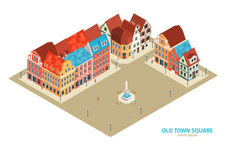 Isometric old town composition with old town square headline and old style houses vector illustration  イラスト・ベクター素材