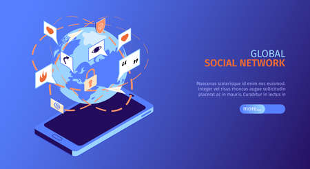 Isometric social media horizontal banner with global social network headline and more button vector illustration