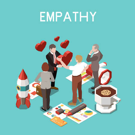 Isometric 3 d soft skills concept with empathy emotions at work among colleagues vector illustration