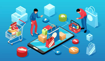 Isometric online shopping horizontal composition with 3d round pictograms of goods shopping carts smartphone and people vector illustration