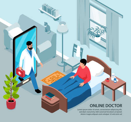 Isometric online medicine background composition with view of living room and sick person with smartphone doctor vector illustration