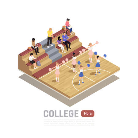 Isometric composition with college cheerleading squad dancing in gym 3d vector illustration 向量圖像