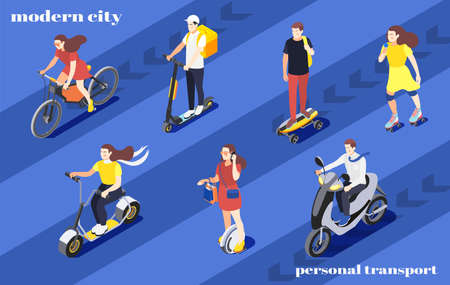 Men and women riding bike unicycle scooter roller skates skateboard around city isometric background 3d vector illustration