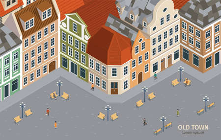 Isometric and colored old town composition with different houses in retro style vector illustration