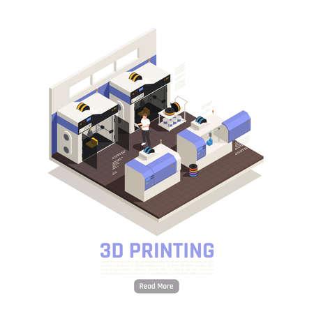 Engineer monitoring printing of big 3d models isometric vector illustration Vectores