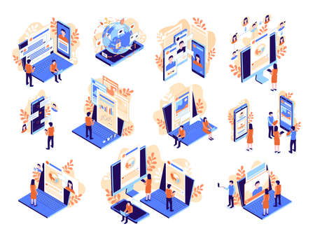 Isometric social media icon set with forum viewing content social network profile and communication descriptions vector illustration