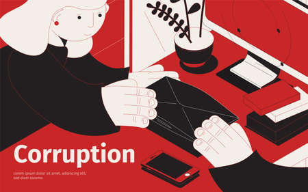 Corruption isometric composition with person giving a bribe in envelope vector illustration
