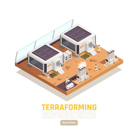 Space colonization terraforming isometric background with planet terrain and living buildings with power plants and people vector illustration Illusztráció