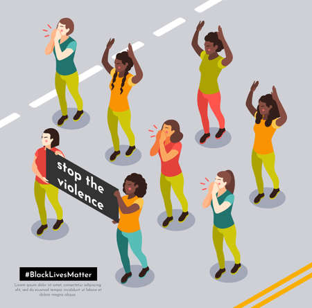 Black lives matter street demonstration with protesters shouting anti racial slogans holding banners isometric composition vector illustration Ilustração