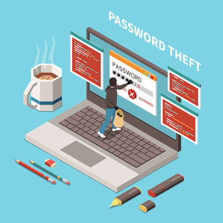 Hacker fishing digital crime isometric and isolated composition with password theft headline vector illustration Vettoriali