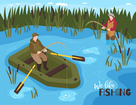 Isometric fishing composition with outdoor scenery and inflatable boat with characters of fishermen and editable text vector illustration Ilustrace