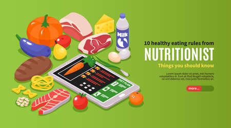 Isometric dietician nutritionist horizontal banner with editable text and images of ripe food with gadget statistics vector illustration