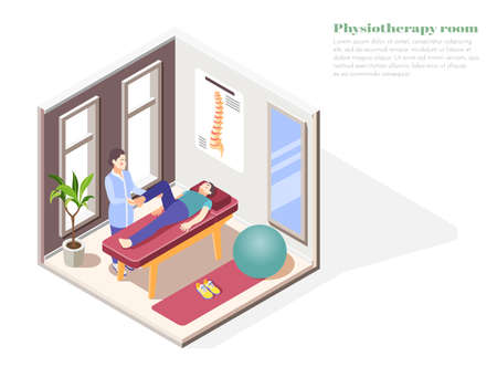 Orthopedics hospital concept with physiotherapy room symbols isometric vector illustration