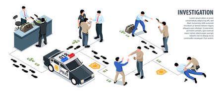 Isometric police infographics with editable text and images of consequent investigation stages connected with foot prints vector illustration Ilustracje wektorowe