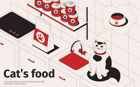 Cat food isometric background with text and kitchen interior with pets food packages and hungry cat vector illustration 向量圖像