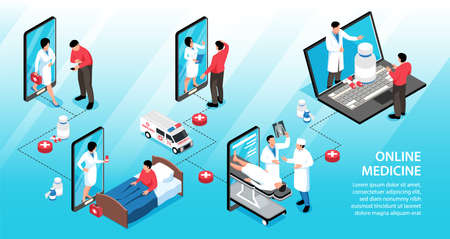 Isometric online medicine infographics with compositions of drugs smartphones laptop and characters of doctors with patients vector illustration 矢量图像