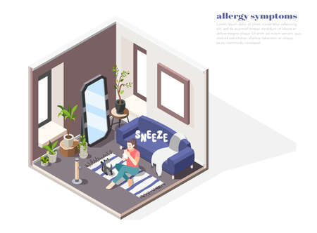 Allergy symptoms concept with risk factors symbols isometric vector illustration