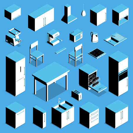 Isometric icons set with kitchen table fridge cooker kettle chair counter cupboard isolated on blue background 3d vector illustration 矢量图像