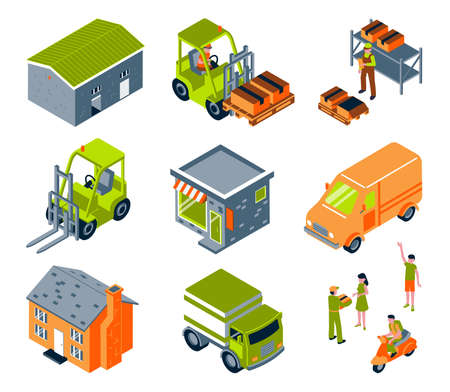 Isometric delivery color set with isolated images of vehicles warehouse buildings and people on blank background vector illustration