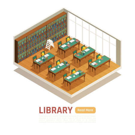 College library interior with tables bookcases and big window 3d isometric vector illustration