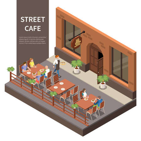 Street cafe terrace isometric composition three tables on the street with visitors and waiter vector illustration 矢量图像