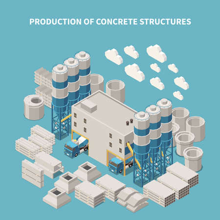 Isometric and colored concrete cement production composition with production of concrete structures description vector illustration  矢量图像
