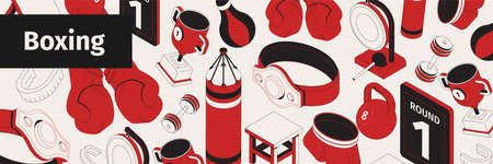 Boxing web site pattern isometric composition with text and icons of gloves punching bags and trophies vector illustration