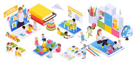 Child development online distant preschool learning virtual educational toys books globe building blocks isometric composition vector illustration