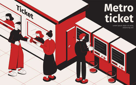 Underground isometric poster with passengers  buying tickets at ticket office and metro vending machines vector illustration