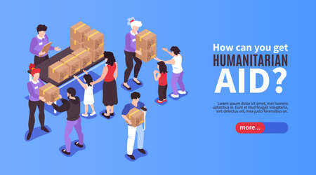 Volunteers giving boxes with humanitarian aid to needy people 3d isometric banner vector illustration