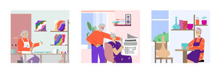 Adult hobby 3 flat compositions with painting reading together couple creating pottery with clay vector illustration