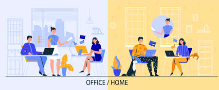 Office and freelance work poster with online work symbols flat vector illustration 矢量图像