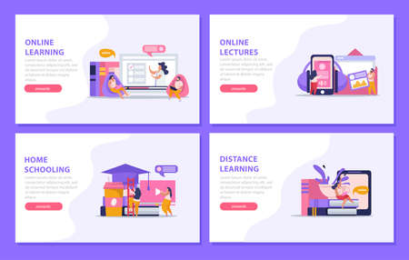 E-learning home schooling flat 4x1 set of horizontal banners with editable text and clickable buttons vector illustration