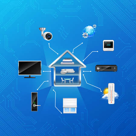 Wireless smart home automation cross section with climate security camera tv remote control system realistic vector illustration