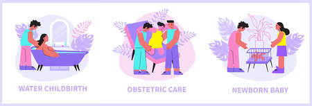 Childbirth compositions set with flat images of obstetric care water birth and baby inside play-pen vector illustration