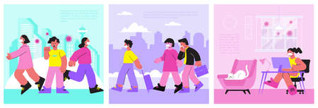 Coronavirus set with three flat compositions of people coughing in public places with cityscape and text vector illustration 矢量图像