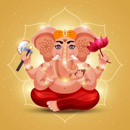 Elephant headed hindu god ganesha holding flower radiating light with outline mandala golden background poster vector illustration