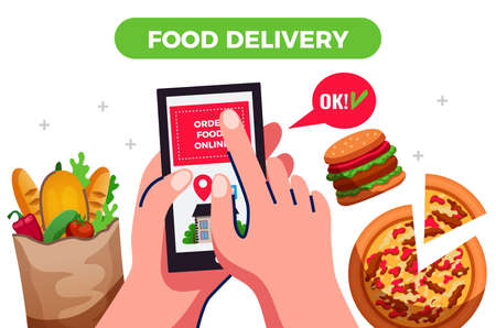 Food delivery design concept  with people hands holding smartphone  with app for ordering goods flat vector illustration