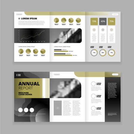Flat trifold brochure design template for annual report with diagrams graphs text field isolated vector illustration