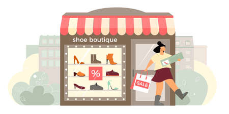Shoe boutique facade flat composition with shop window display happy customer exits store with shoebox vector illustration 矢量图像