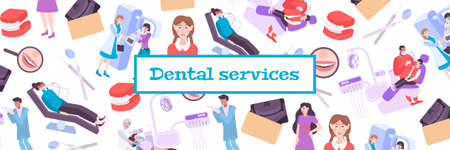 Dentistry pattern composition with text frame and flat images of dental clinics medical equipment and people vector illustration Vectores