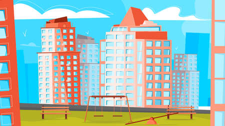 District of new buildings composition with landmarks new buildings skyscrapers residential complex vector illustration