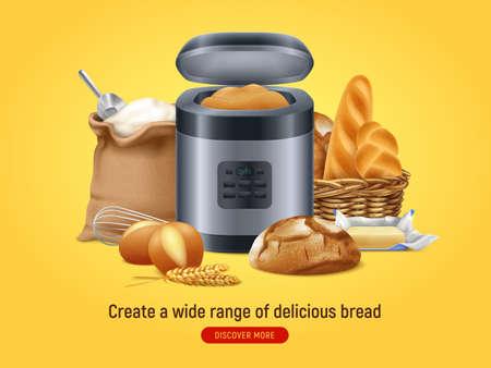 Realistic bread machine background with discover more button text and composition of home baked food images vector illustration 矢量图像