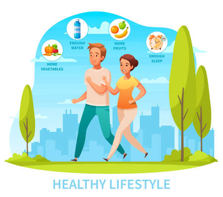 Healthy lifestyle diet exercise getting good sleep cartoon composition with jogging in city park couple vector illustration