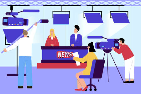 Tv news studio flat composition with indoor scenery and newscasters with camera operators and lighting equipment vector illustration