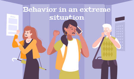 Behavior in extreme situations flat background with depressive people in anxiety condition vector illustration