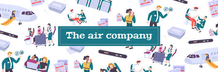 Air company seamless pattern with passenger on board and staff performing official duties flat vector illustration