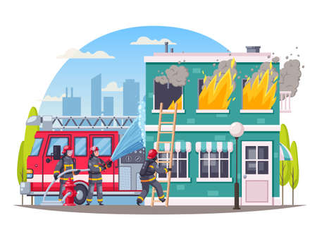Firefighters cartoon round composition with cityscape background and burning house with firemen crew putting blaze out vector illustration 矢量图像
