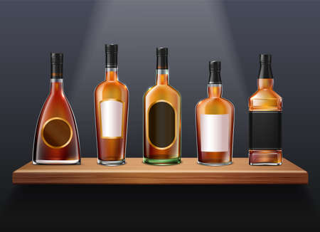 Brandy cognac whiskey set of realistic glass bottles of different shape on wooden shelf with labels vector illustration